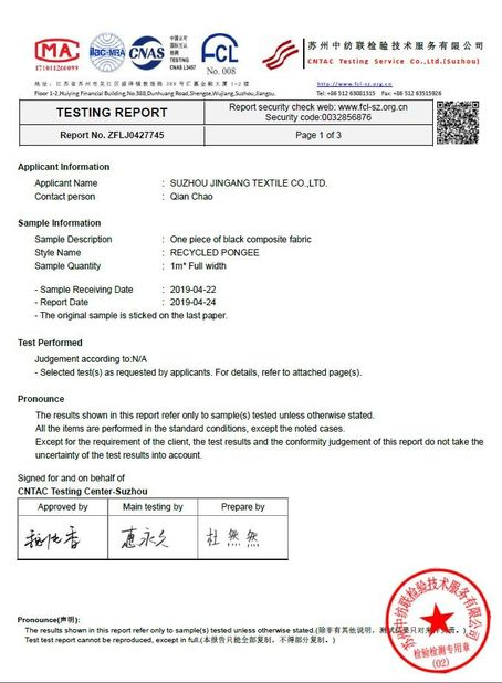 Chine Suzhou Jingang Textile Co.,Ltd Certifications